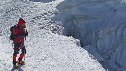 Grieta en el glaciar del Huayna Potosí