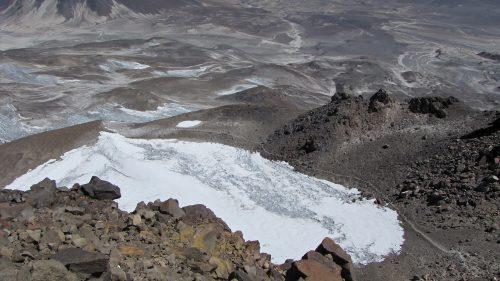 Glaciar en el cráter del Ojos del Salado