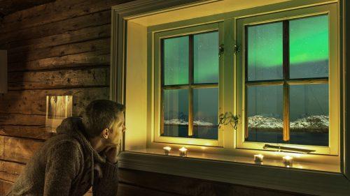Aurora desde la cabaña Lofoten
