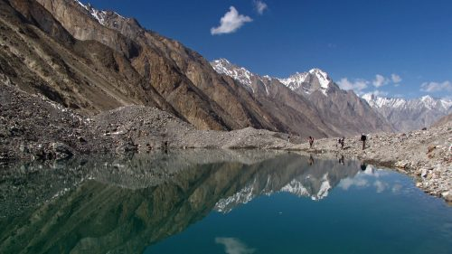 Glacial lake on the Baltoro Glacier while going from Paiju to Urdukas camp